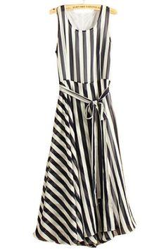#sheinside Navy White Striped Sleeveless Belt Chiffon Dress pictures