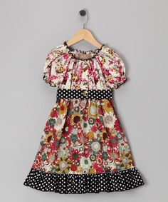 Take a look at this Black Polka Dot Floral Dress - Toddler & Girls by Lele Vintage on #zulily today!