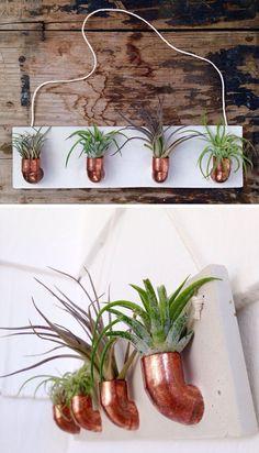 pot à fleurs fait à la main en ciment et en cuivre de design industriel contemporain