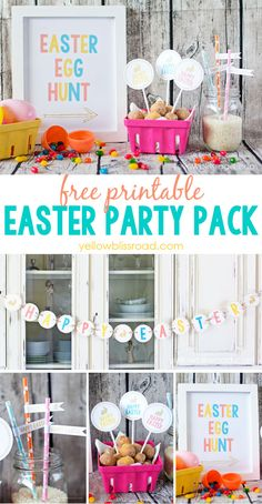 Free Printable Easter Party Pack - bright and colorful printables for your Easter celebrations! Free Printable Easter Party Pack - bright and colorful printables for your Easter celebrations! Hoppy Easter, Easter Eggs, Party Printables, Printable Banner, Free Printables, Ostern Party, Easter Hunt, Easter Celebration, Party