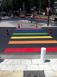 """Arte urbano - Urban Interventions: """"Tel Aviv municipality has colored this morning some of its crosswalks in preparation for the annual Gay Pride parade and """"pride week""""."""