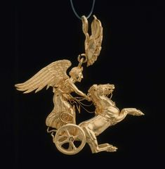 Earring with Nike driving a two-horse chariot. Greek, Northern Greek - about 350–325 B.C.| Museum of Fine Arts, Boston