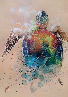 Turtle  watercolour with gouache  art print
