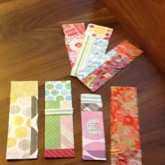 DIY bookmarks made from cardboard, scrapbook paper, and modpodge