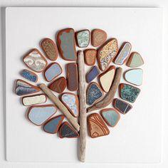 Mosaico di mare ceramica Albero di primavera 30 x di AdriaticGlass Sea Glass Crafts, Sea Glass Art, Pebble Pictures, Spring Tree, Clay Food, Wood Tree, Small Gardens, Pebble Art, Stone Art