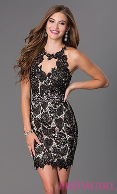 Short Dave and Johnny Homecoming Dress at PromGirl.com