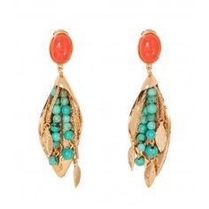 Aur�lie Bidermann Positano Beaded Earrings - Gold Earrings - ShopBAZAAR