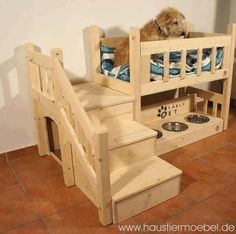 A puppy condo. This company in Germany sells plans to make them. Link to site and then just translate the page to English by right clicking and using the translate button. They will ship outside Germany but must call for pricing which I am sure would also include copies of plans.