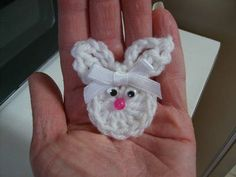 Free Bunny in White Crochet Pattern-cute as a fridgie, just add a magnet to the back of all of these that I have posted.