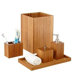 Accent your restroom with this simple yet elegant #Seville #Classics 5 Piece Bamboo Bath and Vanity Set. This solid bamboo set is hand-crafted and features the ba...