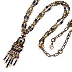 Art Deco Crystal Enamel Necklace - Sweet Romance Waterfall Fringe Flapper Necklace