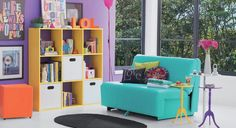 Colorful yellow turquoise yellow purple orange living room