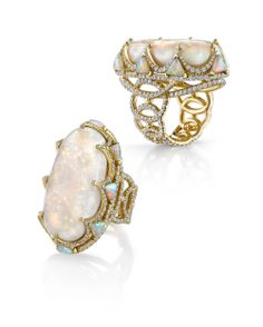 18k gold and diamond opal Royal ring by Erica Courtney®
