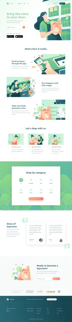Yursayur - Food and Grocery Delivery Landing Page designed by Sigit Setyo Nugroho for OWW. Connect with them on Dribbble; the global community for designers and creative professionals. Food Web Design, Best Web Design, Page Design, Ui Design, Wireframe Design, Interface Design, User Interface, Print Design, Website Design Layout