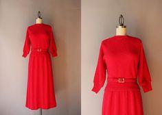 década de 1950 vestido conjunto de punto / por HolliePoint en Etsy
