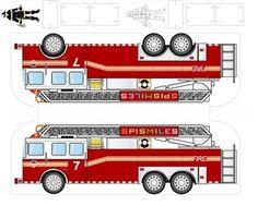 brandweerauto / Детские поделки из бумаги: машинки для вырезания - ua-handicraft