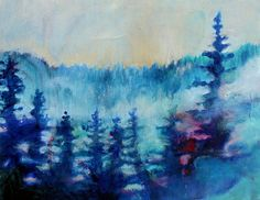 Landscape Painting Trees Abstract 14x11 by kerriblackmanfineart, $65.00