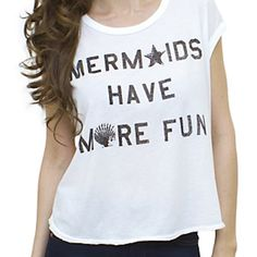 Mermaid Have More Fun Junk Food Crop Top Junk food crop top. Size small! Short sleeves. Also: necklace can be found in my closet as well :) Junk Food Tops Crop Tops