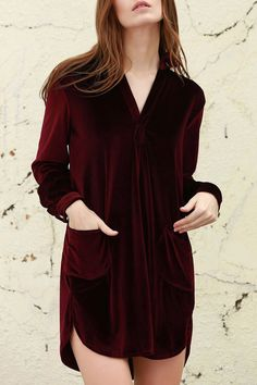 Cozy Velvet Shirt Dress WINE RED: Long Sleeve Dresses | ZAFUL