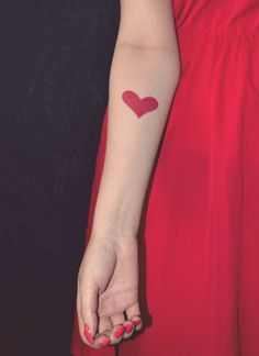 #tattoo, #heart, heart tattoo, red, red heart, red tattoo, red ink, ink, nails, red dress