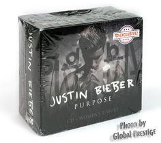 Justin Bieber Purpose CD Fan Box Set With Ladies T-Shirt Sz Large FYE Exclusive | Music, CDs | eBay!