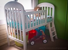 Transform an old crib into a loft toddler bed! Simple, cheap, practical, fun for the kiddos, and super cute. @ DIY Home Crafts