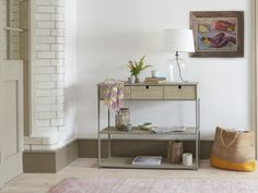 This slimline wooden sideboard is a gorgeous hiding place for gizmos and doodahs, with stacks of shelf space for the things you love. Console Table, Table Lamp, Stacking Shelves, Comfy Sofa, Hiding Places, Gorgeous Fabrics, Floating Nightstand, Your Space, Shelving