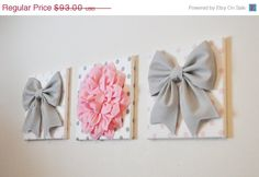 "SPRING SALE THREE - Wall Decor - Large Gray Bows and Light Pink Dahlia on Polka Dot 12 x 12"" Canvases Wall Art - Pink and Gray Baby Nursery"