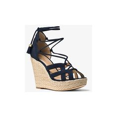 MICHAEL Michael Kors MICHAEL Michael Kors Mirabel Suede Lace-Up Wedge ($48) ❤ liked on Polyvore featuring shoes, blue, blue shoes, platform shoes, lace up shoes, woven shoes and suede lace up shoes