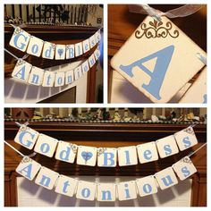 Baptism Decoration Banner God Bless Child's Name by ClassicBanners