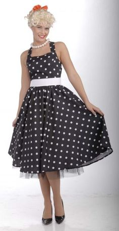 e9bd9cbe 50's Vintage Style Black Polka Dot Halter Dress Costume Sock Hop Costumes,  Halloween Costumes,