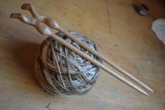 Wood Woman, Canary Wood, hand turned wooden knitting needles, size shaft is long Wooden Knitting Needles, Sewing Needles, Hand Knitting, Needle And Thread, Hair Pins, Hand Carved, Knit Crochet, Wax, Carving