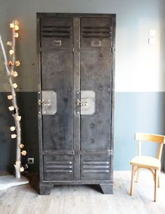industrial locker storage for the home - perfect. {Lightninglockers.com}