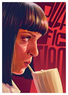 Pop Culture Illustration by Flore Maquin - Mia Wallace (Uma Thurman) in Pulp Fiction
