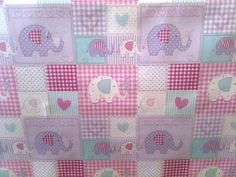 fryetts bobo pink elephants kids curtain material fabric sold by the metre