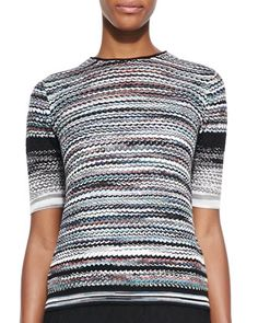 Short-Sleeve Pleated Back Sweater, Multicolor by Missoni at Neiman Marcus.
