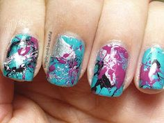 Teal Tuesdays - Splatter Mani