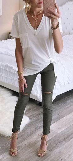 ladies white v-neck cap-sleeve-shirt and green leggings # . - Women& white v-neck cap sleeve shirt and green leggings - Mode Outfits, Jean Outfits, Winter Outfits, Summer Outfits, Casual Outfits, Fashion Outfits, Womens Fashion, Women's Casual, Casual Fall