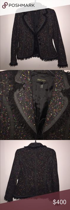 Escada jacket Beautiful tweed jacket size small used once like new condition black and multicolor dots , wool . Fitted and gorgeous . Escada Jackets & Coats Blazers