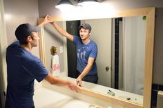 Step by step-how to frame the bathroom mirror (something I definitely want to do!) from Young House Love