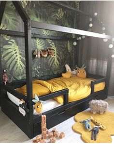 The Most Creative Kids Rooms Ideas (You'll Love with Is your child's room long overdo for a smart makeover? It's time to say bye bye to drab walls and misplaced shoes and hello to a space that invites play Toddler Rooms, Baby Boy Rooms, Baby Bedroom, Nursery Room, Bedroom Art, Forest Bedroom, Baby Beds, Kids Bedroom Wallpaper, Bedroom Colors
