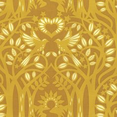 Norwegian Wood in Gold by Heather Bailey Free Spirit Fabric Hello, LOVE Golden Yellow Forest Tree Woodland Leaves Yellow Gold Fabric by Owlanddrum on Etsy