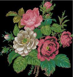 Gorgeous roses antique digital cross stitch pattern by Smilylana