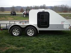 Little Guy Toy Hauler - This is slick. strap dirtbikes to trailer, tow trailer to spot, ride, get tanked, sleep in attached shanty. Bug Out Trailer, Small Camping Trailer, Teardrop Camper Trailer, Cargo Trailer Camper, Car Camper, Trailer Plans, Small Campers, Utility Trailer, Trailer Build
