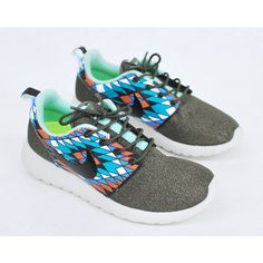 Galaxy Roshe One Custom Hand Painted Nike Sneakers ❤ liked on Polyvore featuring shoes, sneakers, nike, nike footwear, planet shoes, galaxy print shoes and nike sneakers