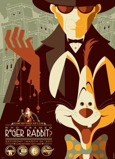 Poster for Who Framed Roger Rabbit, reimagined by Tom Whalen