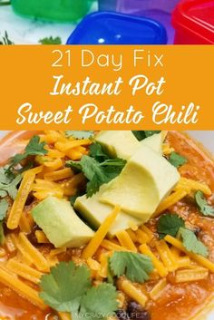 This easy and delicious Instant Pot Sweet Potato Chili is the perfect meal prep recipe! 21 Day Fix Sweet Potato Chili for lunch is a great way to stay on target!