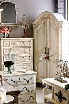 French Provincial high-boy dresser, armoire, chest of drawers, and coffee table