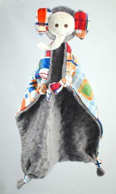 Elephant Baby Toy Lovey Blanket Baby Blanket Gray by Koddalie, $22.00