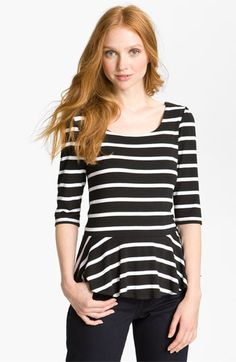 Bobeau Stripe Peplum Top available at Nordstrom